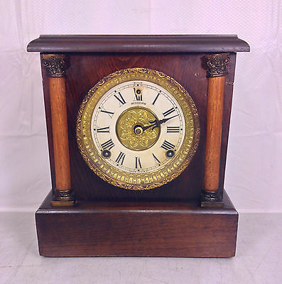 Antique Sessions  Bracket Mantel Clock Runs? Bell Strike Column Design