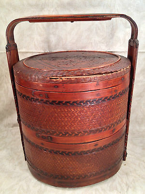 Antique Chinese Picnic Basket  with Wood Carved Handles and Woven Sides and Top