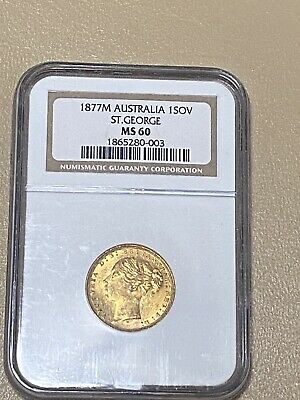 1877-M Australia 🇦🇺 Gold 1 SOV Sovereign St. George Young Head Horse 🐎 MS 60