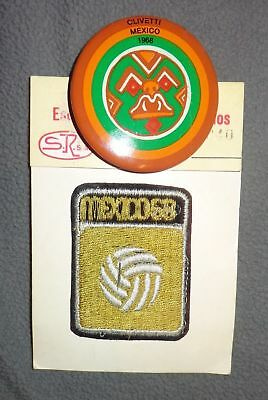 Old Vintage 1968 Mexico Clivetti Pin Olympics Souvenir Embroidered Fabric Patch