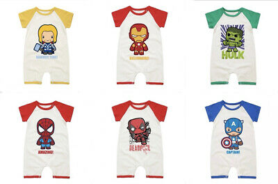 Newborn Baby Boys Girls Marvel Hero Cute Romper Jumpsuit Bodysuit Clothes Outfit