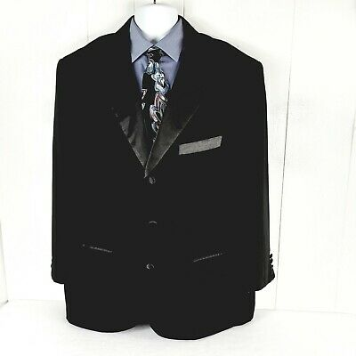 Lucci Collezione Men's Black Tuxedo Jacket Satin Notch Lapels Italy EUC 46R