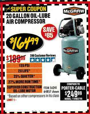 Harbor Freight Coupon for 20 Gallon Oil-Lube Air Compressor