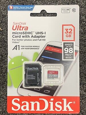 SANDISK Ultra 32 GB 98MBs micro SD SDHC MEMORY Card 32G Extreme class 10 UHS A1