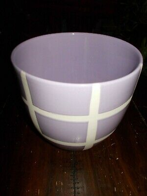"""Ceramic 6"""" Flower Pot  Pottery Purple and White -  Made in Portugal"""