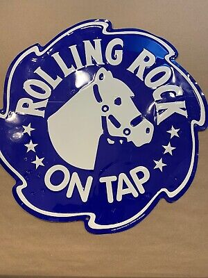 Vintage Rolling Rock Beer On Tap Bar Sign 1995 Tin Latrobe Brewing Co.