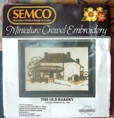 "Vintage SEMCO Miniature Crewel Embroidery KIT"" THE OLD BAKERY  Kit No 1129"