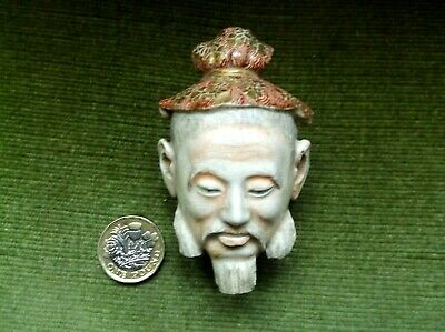 Rare Antique 19 C Japanese Satsuma Porcelain Hand Painted Emperors Head Fragment