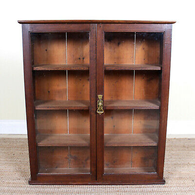 Antique Arts & Crafts Oak Bookcase Glazed Top Country Rustic Cabinet