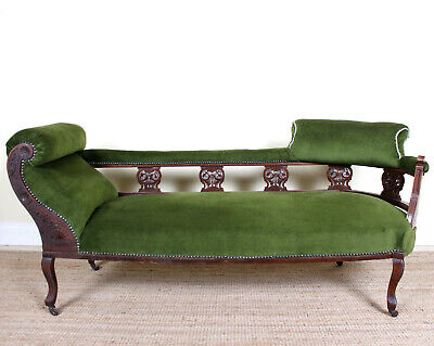 Antique Victorian Chaise Longue Sofa Carved Mahogany Fine Quality Green