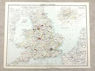1890 Antique Map of England Counties Boroughs County Division Boundaries
