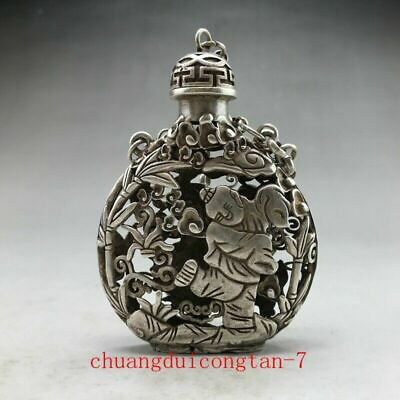 Chinese ancient Tibetan silver snuff bottle hand-carved children's pattern
