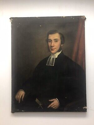 Huge Large 19th Century antique oil painting canvas Religious man portrait study