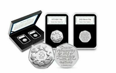 BREXIT 50p COIN SET PAIR 2020 and 1973 PRESENTATION BOXED SET