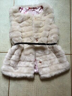 Girls Ted Baker Faux Fur Gilet Age 8 Years From Debenhams Cream With Belt