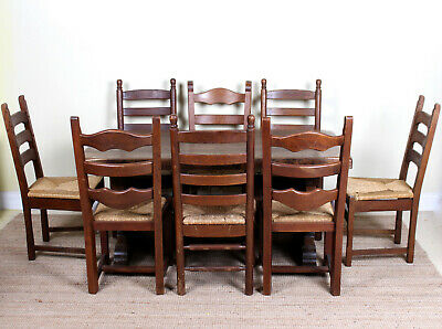 Antique Oak Dining Table And 8 Chairs Country Arts Crafts Rustic Refectory