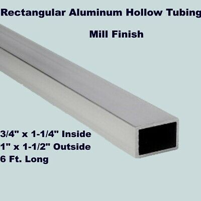 "Rectangular Aluminum Hollow Tubing   3/4"" x 1-1/4"" In   1"" x 1-1/2"" Out  6 Ft. L"