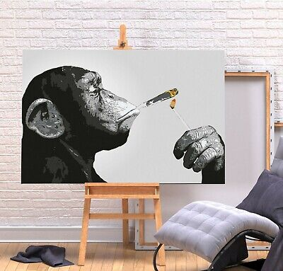Banksy Monkey Chimp Spliff - Deep Framed Canvas  Wall Art Picture Print - Grey