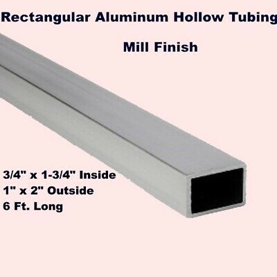 "Rectangular Aluminum Hollow Tubing   3/4"" x 1-3/4"" In   1"" x 2"" Out   6 Ft. Long"