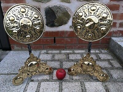 Super Ernest Gimson style Antique Arts & Crafts Wrought Iron &  Brass Fire Dogs