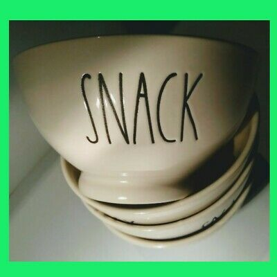 Rae Dunn Snack bowls Cereal Soup Bowl ice cream bowl large letters NEW lot of 4