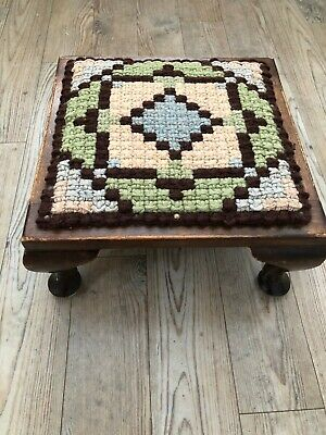 Vintage square stained oak footstool fabric / woven wool top