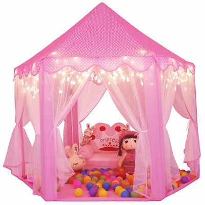 Sumerice Girls Play Tent Toys Large Indoor and Outdoor Hexagon Princess Castle
