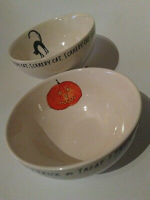 Rae Dunn halloween cereal bowls Trick or treat & scaredy cat Set of 2 bowl new