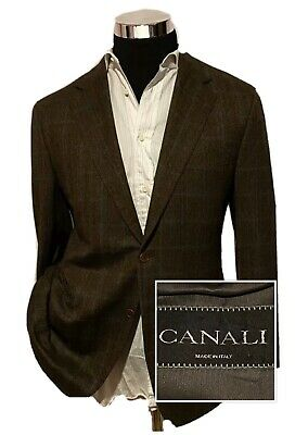 Canali Men's 100% Wool Blazer Jacket Sport Coat Brown Plaid In Italy Size 42L