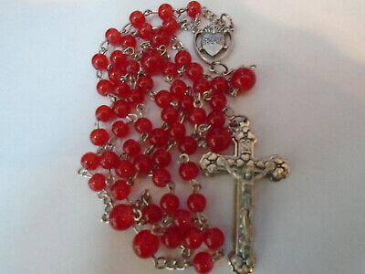 Red Jade Rosary Beads Silver Sacred Heart of Jesus Mary Center Crucifix Italy