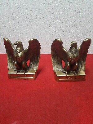 Two Vintage PM Craftsman Brass American Eagle 1776 Book Ends