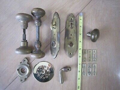 Vintage Antique Solid Brass Door Knobs Key Hole and Latch Plates 14 Pieces Lot