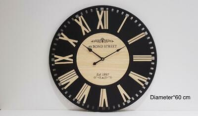 60cm Extra Large Round Wooden Wall Clock Vintage Retro Antique Chic