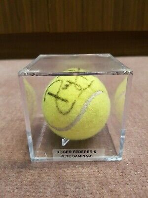 Roger Federer Pete Sampras Signed Tennis Ball CoA Certificate of Authenticity