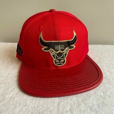 Pro Standard Chicago Bulls Logo Leather Vize Strapback Black