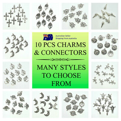 10 Pcs Silver Plated Charms 25 Styles To Choose From BOHO DIY JEWELRY