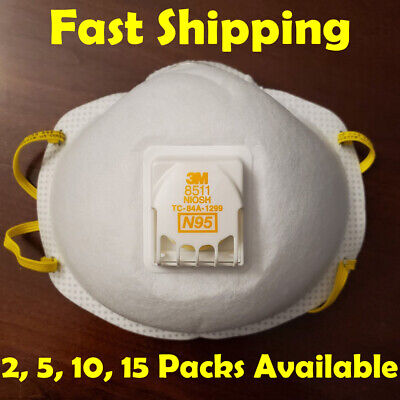 3M 8511 N95 Respirator Mask Cool Flow Valve Fast Shipping 2,5,10,15 Pack Sizes