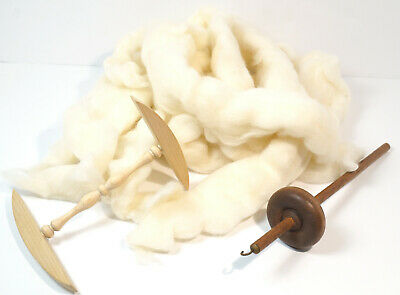 Drop Spindle With 4 oz Merino Sliver Mini Niddy Noddy White Roving Spinning Kit