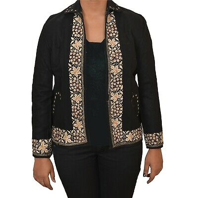 Tcw  Vintage Fabric Woolen Hand Embroidered Short Top Jacket Black