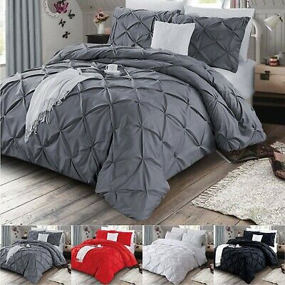 Pinch Pleat Pintuck Bedding Duvet Cover With Pillowcases Single Double King Size