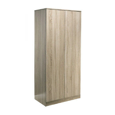 2 Door Double Wardrobe Rustic Oak Effect. Hanging Rail & Shelf. Soft-Close Doors