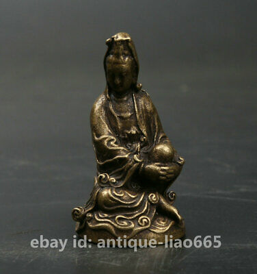 42MM Collect Curio Chinese Bronze Buddhism Sit Kwan-yin Goddess Guan Yin Statue
