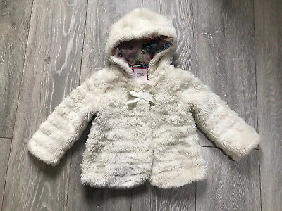 TED BAKER Girls Fur Coat  Age 2-3 Years