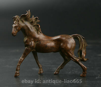 70MM Curio Chinese Bronze Exquisite Animal Fengshui 12 Zodiac Year Horse Statue