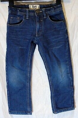 Boys Matalan Blue Whiskered Denim Adjustable Waist Classic Fit Jeans Age 5 Years