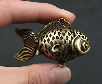 52MM Curio Chinese Bronze Animal Fish Goldfish Hollow Out Pretty Pingan Pendant