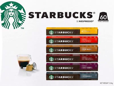Starbucks by Nespresso Coffee Pods Variety Pack 60 Capsules (10 of Each Flavor)