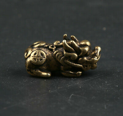 31MM Curio Chinese Bronze Small Kylin Chi-lin Qilin Beast Animal Statue Pendant