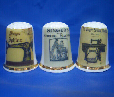 Birchcroft China Thimbles -- Set of Three -- Singer Sewing Machine Posters
