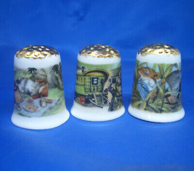 Make Offer Birchcroft Thimbles Gold Top Piggies Set of Three